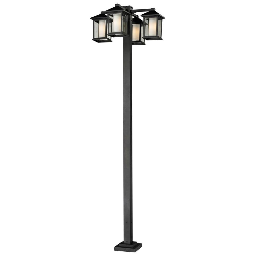 Filament Design Lawrence 4-Light Outdoor Black Incandescent Post Light