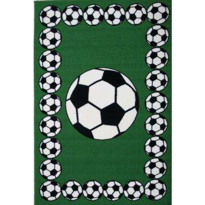 Fun Time Soccer Time Multi Colored 19 in. x 29 in. Accent Rug
