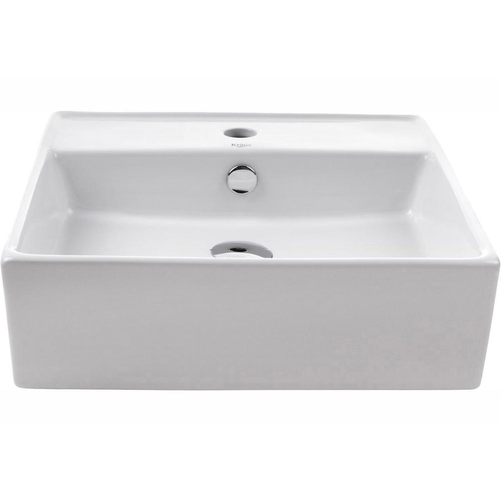 Kraus Square Ceramic Vessel Bathroom Sink With Overflow In White And Pop Up Drain In Chrome Kcv