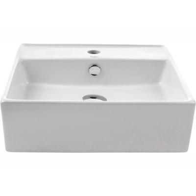 Square Ceramic Vessel Bathroom Sink with Overflow in White and Pop Up Drain in Chrome
