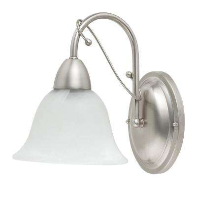 Candice 1-Light Brushed Steel Downward Wall Sconce with Alabaster Glass Shade