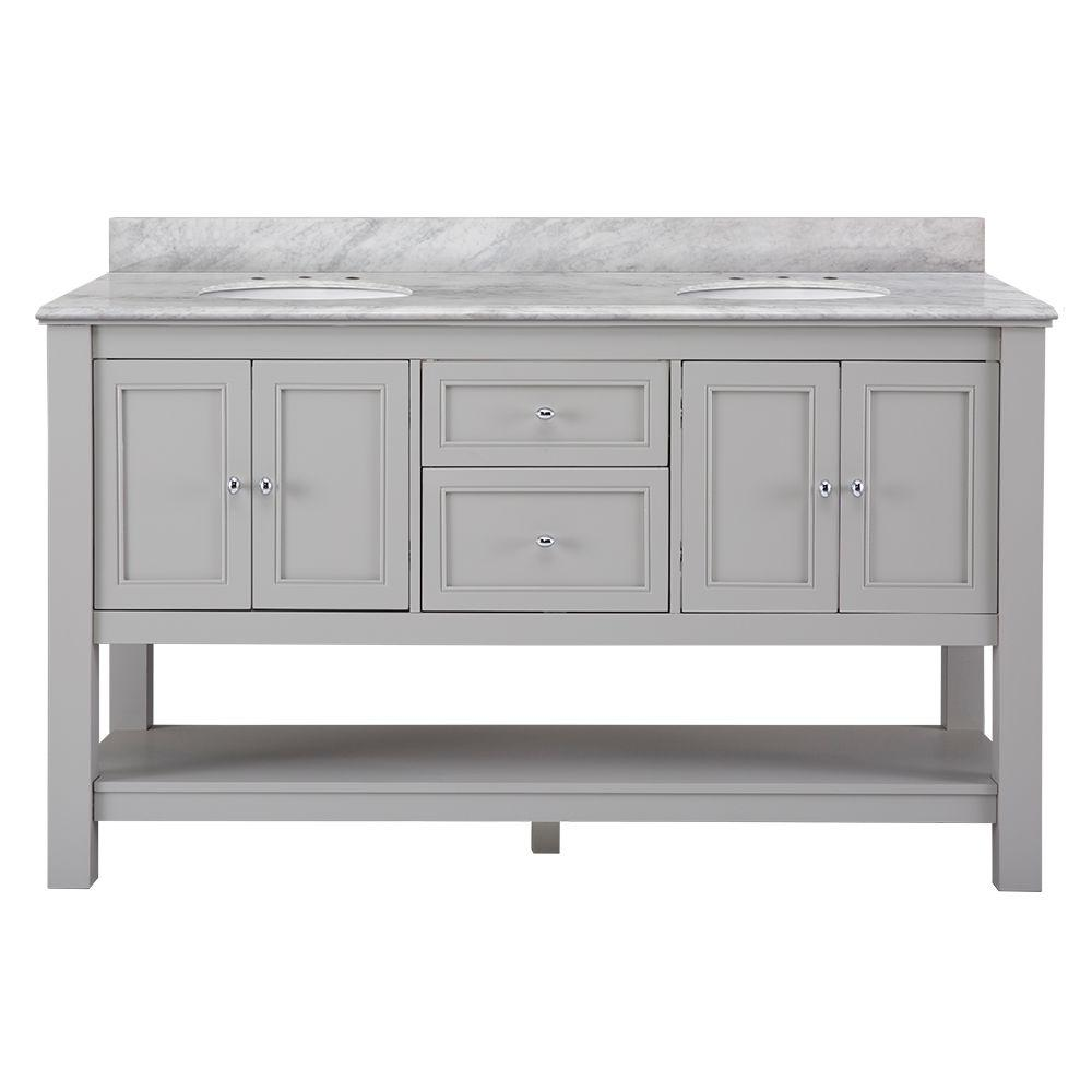 HomeDecoratorsCollection Home Decorators Collection Gazette 61 in. W x 22 in. D Vanity in Grey with Marble Vanity Top in Carrara White with White Sinks