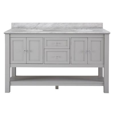 Home decorators collection gazette 61 in w x 22 in d vanity in grey with marble vanity top in carrara white with white basins