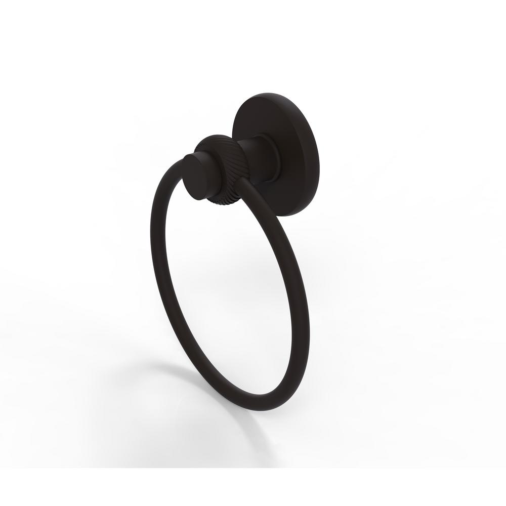Mercury Collection Towel Ring with Twist Accent in Oil Rubbed Bronze