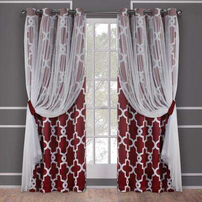 Alegra Wine Layered Gated Blackout And Sheer Grommet Top Window Curtain