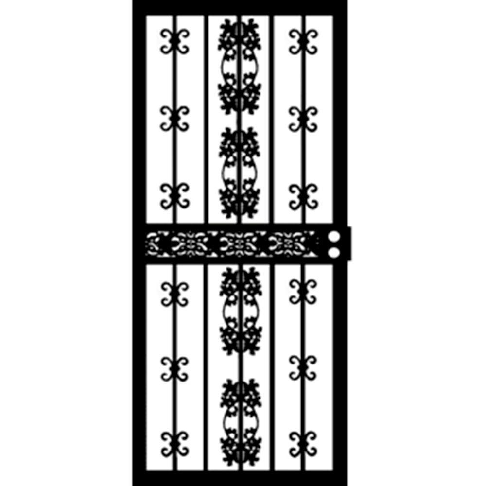 36 in. x 80 in. 411 Series Black Georgia Security Door
