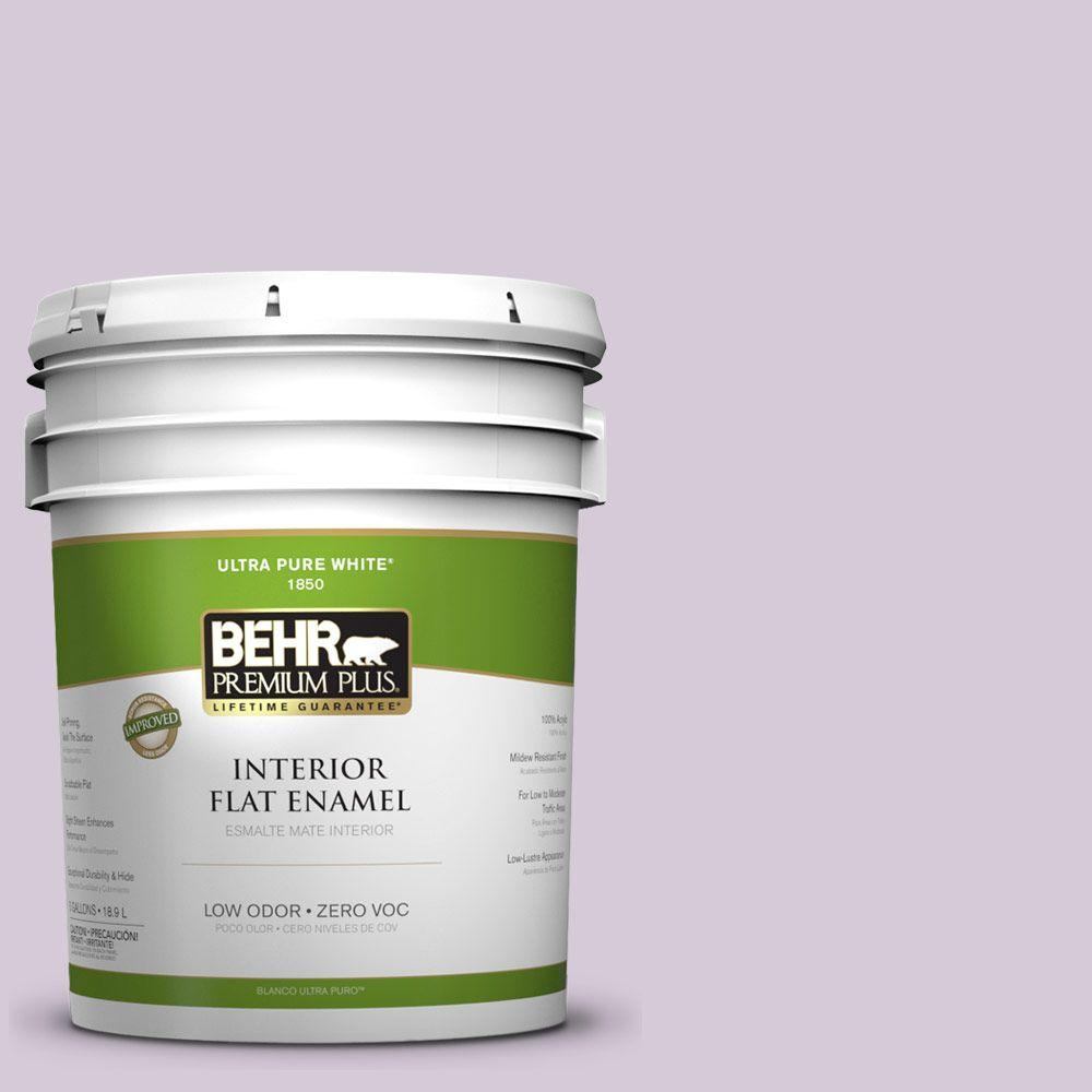 BEHR Premium Plus 5-gal. #670C-3 Purple Cream Zero VOC Flat Enamel Interior Paint-DISCONTINUED