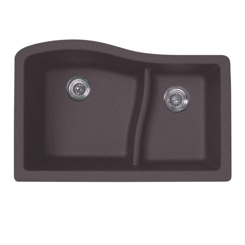 Swan Undermount Granite 32 In 0 Hole 60 40 Double Bowl Kitchen Sink