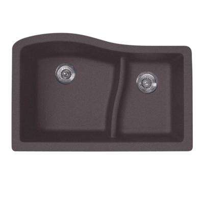 Undermount Granite 32 in. 0-Hole 60/40 Double Bowl Kitchen Sink in Nero