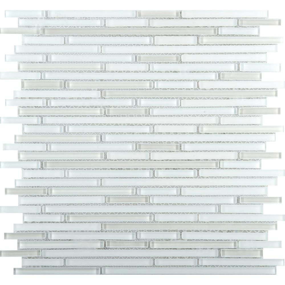 Emser Infinity White Glossy 11.73 in. x 11.73 in. x 4mm Glass Mesh-Mounted Mosaic Tile