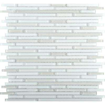 Infinity White Glossy 11.73 in. x 11.73 in. x 4mm Glass Mesh-Mounted Mosaic Tile