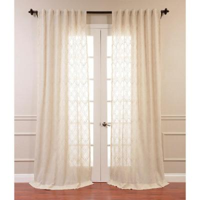 Saida Embroidered Faux Linen Sheer Curtain in Natural Ivory - 50 in. W x 96 in. L