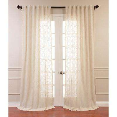 Saida Natural Ivory Embroidered Faux Linen Sheer Curtain - 50 in. W x 120 in. L