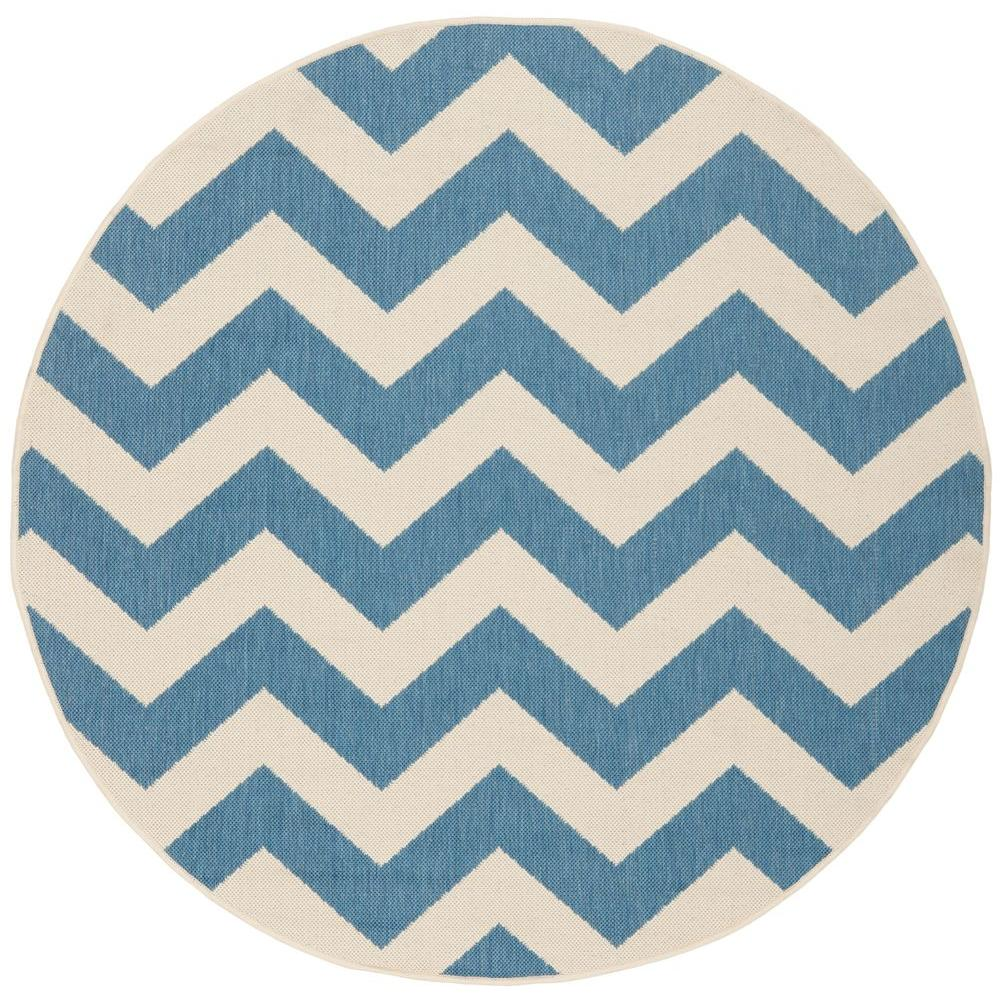 Safavieh Courtyard Blue Beige 4 Ft X Indoor Outdoor Round