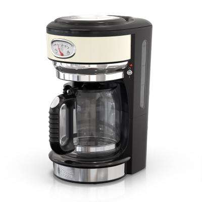 Retro Style 8-Cup Coffeemaker in Cream and Stainless-Steel