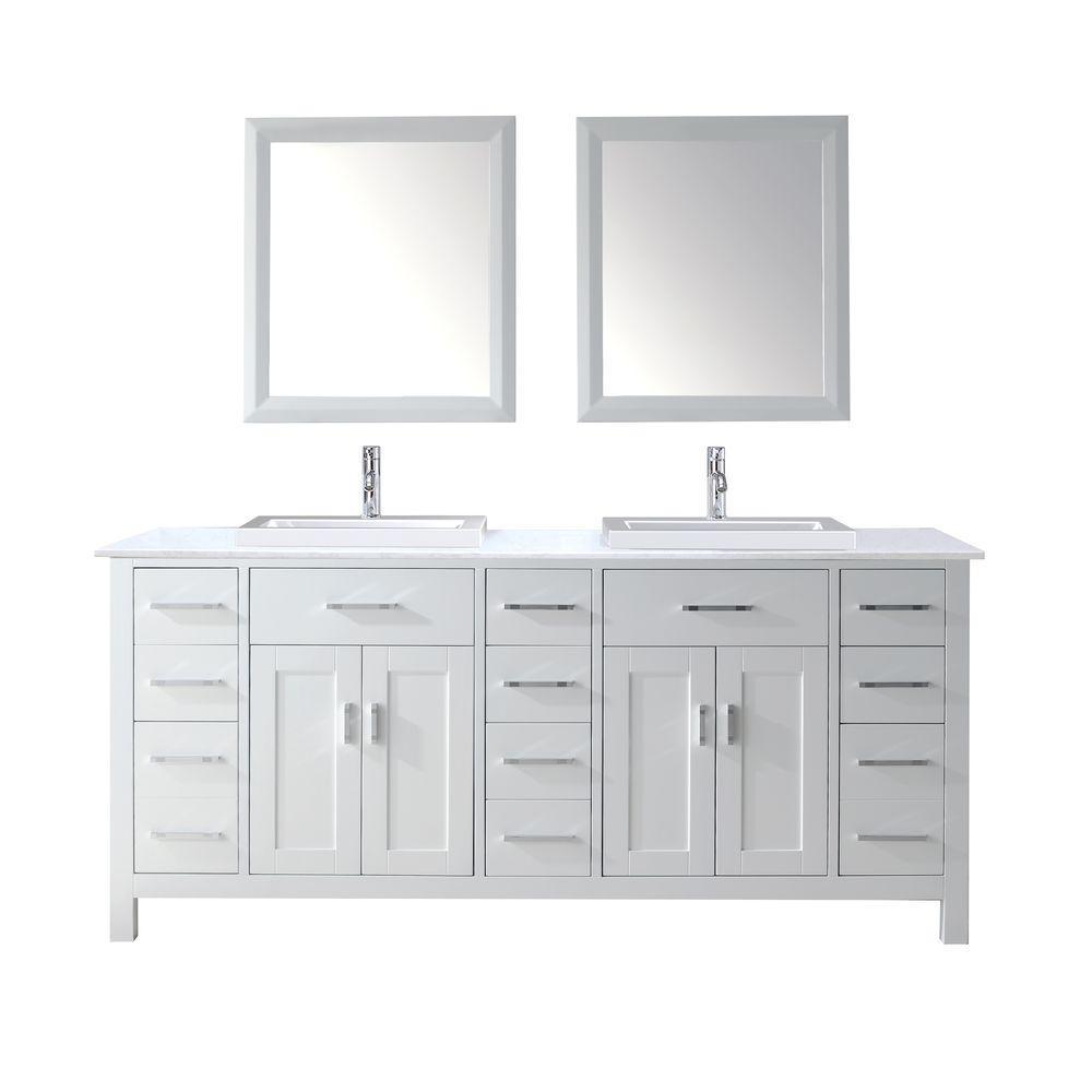 Studio Bathe Vanity White Solid Surface Marble Vanity Top White Mirror