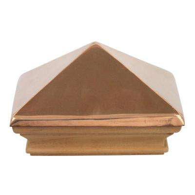 Miterless 4 in. x 4 in. Untreated Wood Flat Slip Over Fence Post Cap with Copper Pyramid