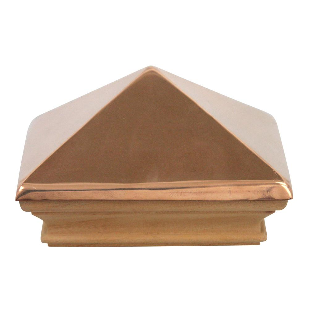 Protectyte Miterless 6 in. x 6 in. Untreated Wood Flat Slip Over Fence Post Cap with Copper Pyramid