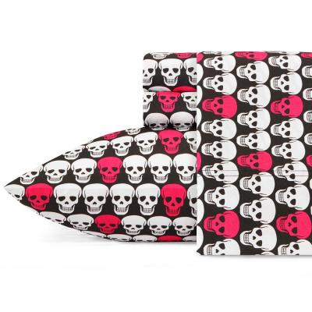 Skulls Pink 4-Piece Microfiber Sheet Set, King