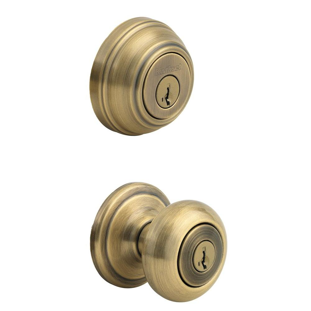Juno Antique Brass Exterior Entry Door Knob and Single Cylinder Deadbolt  Combo Pack Featuring SmartKey Security - Kwikset Juno Antique Brass Exterior Entry Door Knob And Single