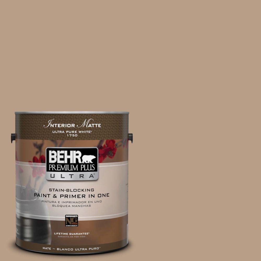 BEHR Premium Plus Ultra 1 gal. #ICC-52 Cup of Cocoa Flat/Matte Interior Paint