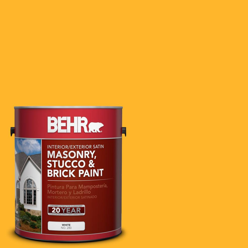 1 gal. #P260-7 Extreme Yellow Satin Interior/Exterior Masonry, Stucco and Brick