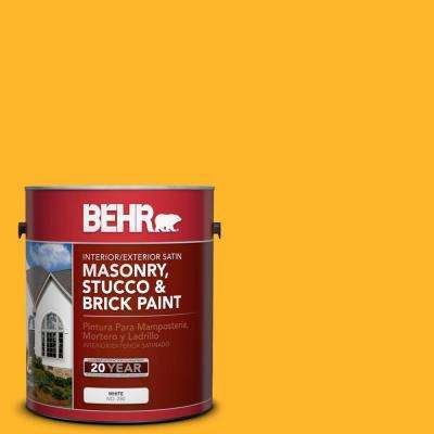1 gal. #P260-7 Extreme Yellow Satin Interior/Exterior Masonry, Stucco and Brick Paint