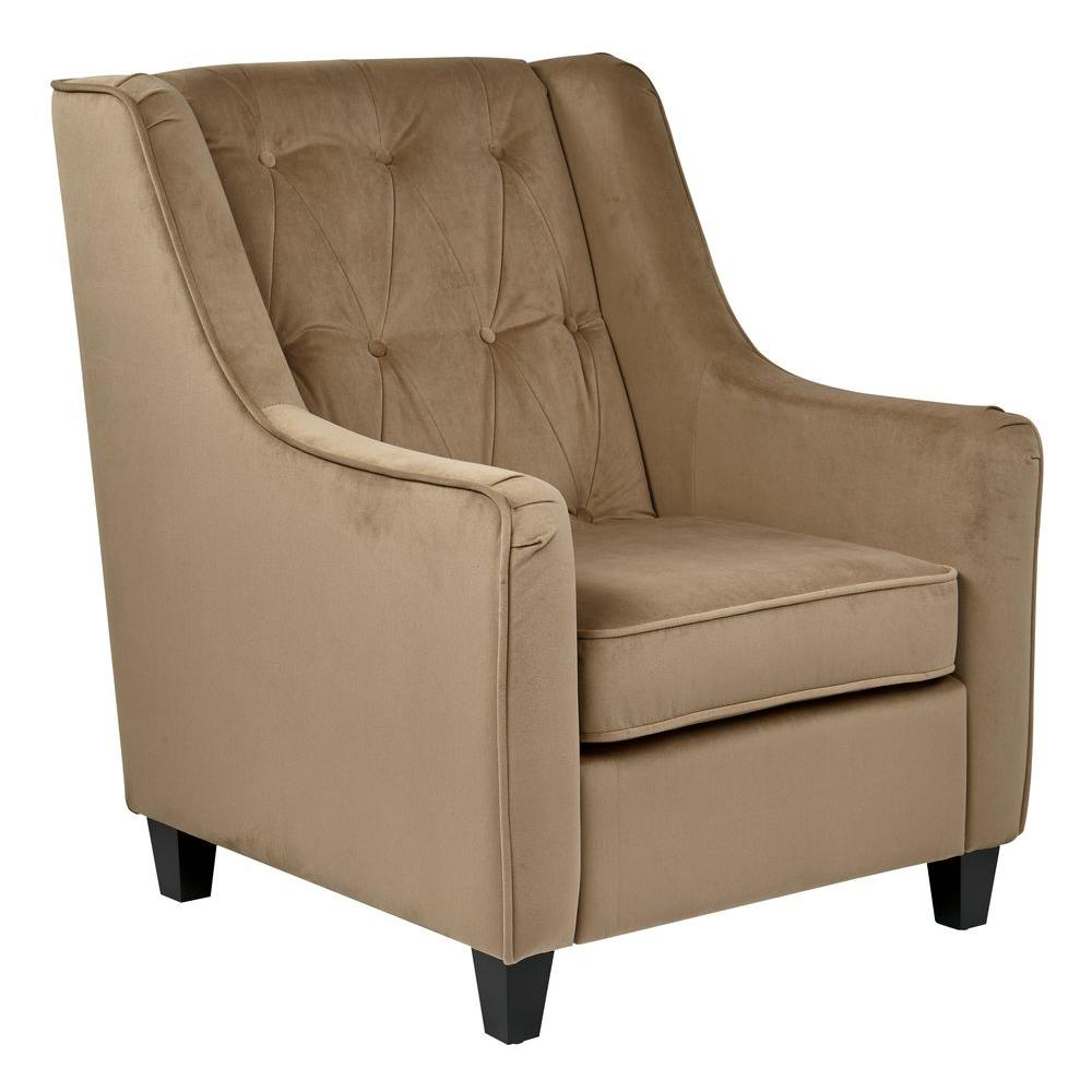 Great Ave Six Coffee Velvet Tufted Arm Chair