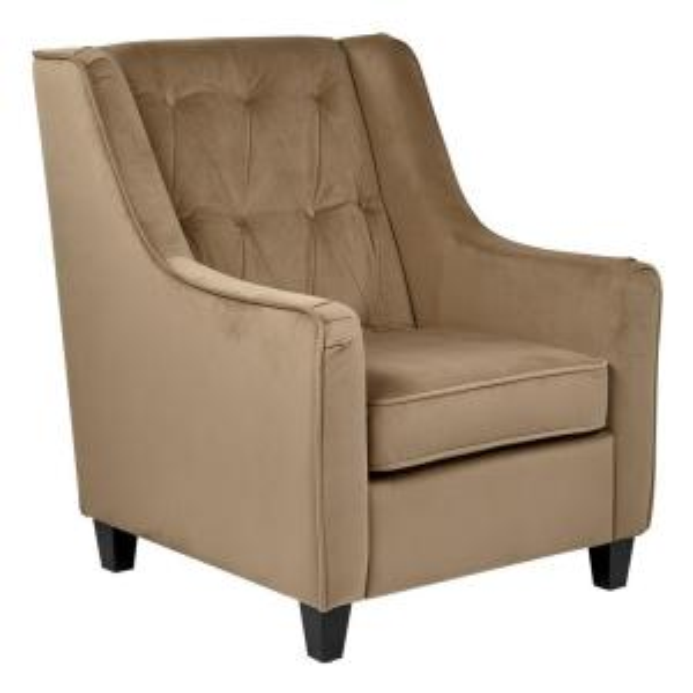 Coffee Velvet Tufted Arm Chair