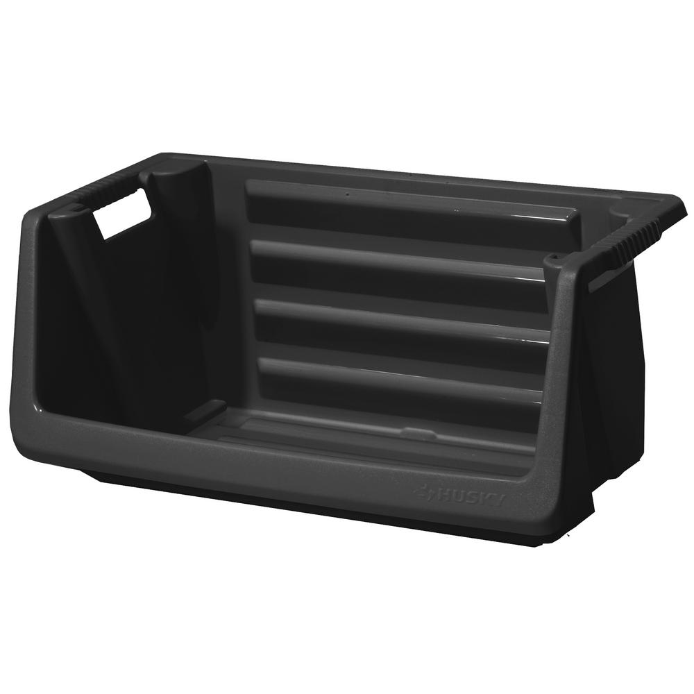 Husky Stackable Storage Bin in Black  sc 1 st  The Home Depot & Husky Stackable Storage Bin in Black-232387 - The Home Depot
