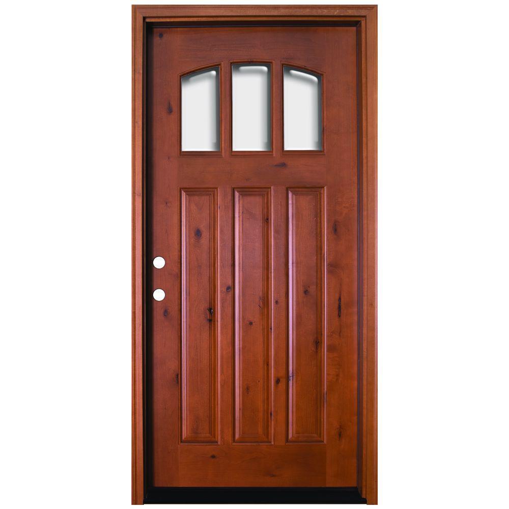 Craftsman 3 Lite Arch Stained Knotty Alder Wood Prehung Front Door