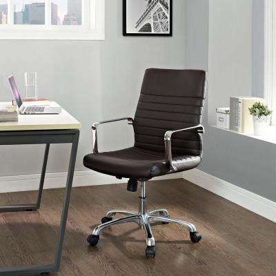 Finesse Mid Back Memory Foam Office Chair in Brown