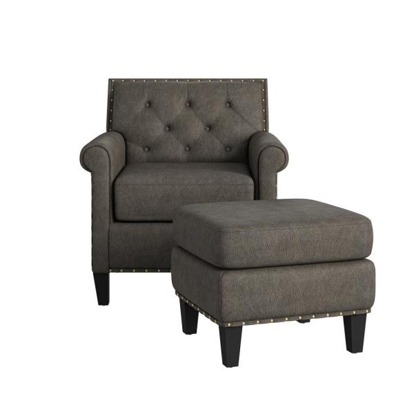 Angie Button in Distressed Fog Gray Faux Leather Tufted Rolled Arm Chair and Ottoman Set