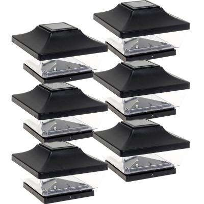 5 in. x 5 in. Solar Powered Integrated LED Black Plastic Post Cap Light with 5 in. and 6 in. PVC Post Adapter (6-Pack)