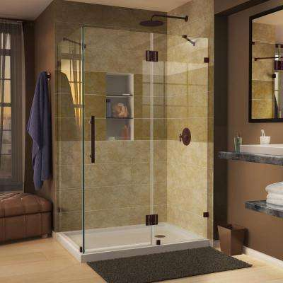 Quatra Lux 46-5/16 in. x 34-5/16 in. x 72 in. Frameless Corner Hinged Shower Enclosure in Oil Rubbed Bronze