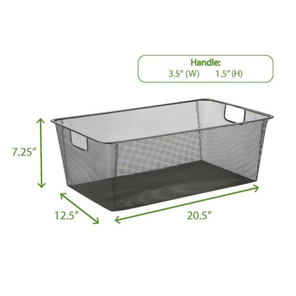 Mind Reader Mesh Storage Basket With Handle, Storage Bin, Storage Bins, Organizer Bin, Bathroom, Bedroom, Office, Black-BASK-BLK - The Home Depot