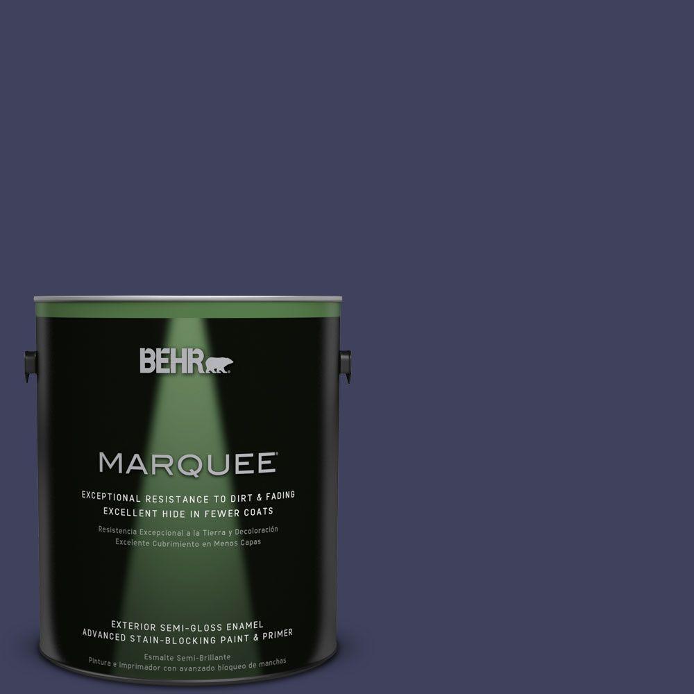 1-gal. #PMD-92 Darkest Navy Semi-Gloss Enamel Exterior Paint