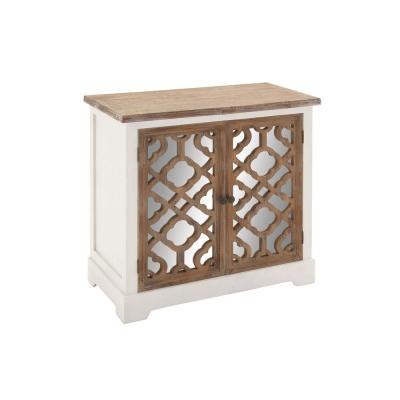 Modern Wood and Mirror Quatrefoil Console Cabinet