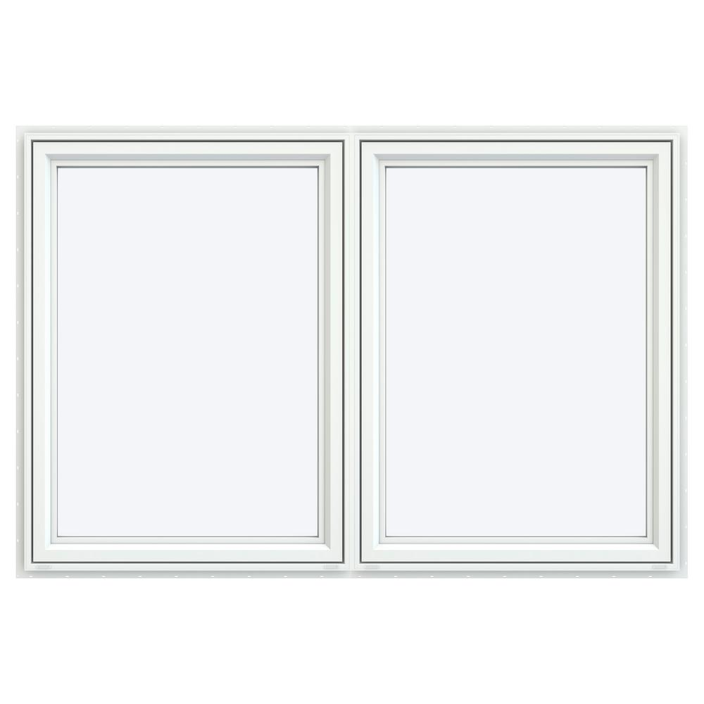 JELD-WEN 71.5 in. x 47.5 in. V-4500 Left/Right-Hand White Double Casement Vinyl Window with Double Pane Low-E Glass and Argon