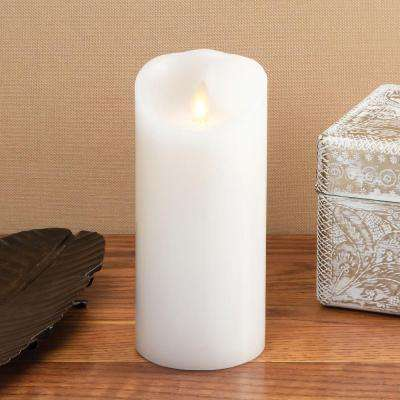 Classic 3 in. W x 6 in. H White Pillar Candle with Timer