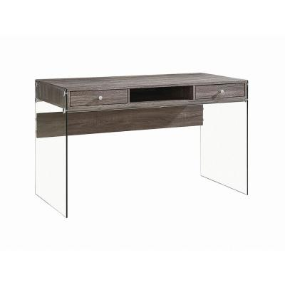 Weathered Grey Writing Desk with Glass Sides