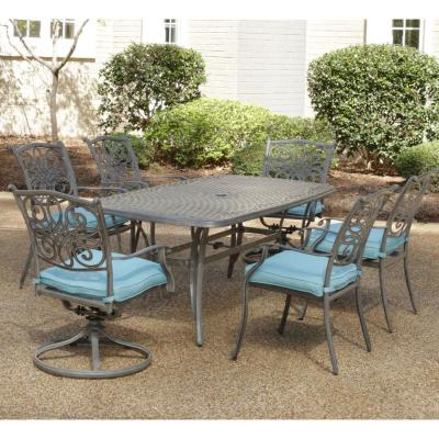 Traditions 7-Piece Aluminum Outdoor Dining Set with Blue Cushions 4-Chairs 2-Swivel Rockers and Dining Table