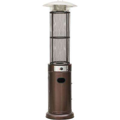 6 Ft. 34000 BTU Bronze Cylinder Propane Patio Heater With Glass Flame  Display