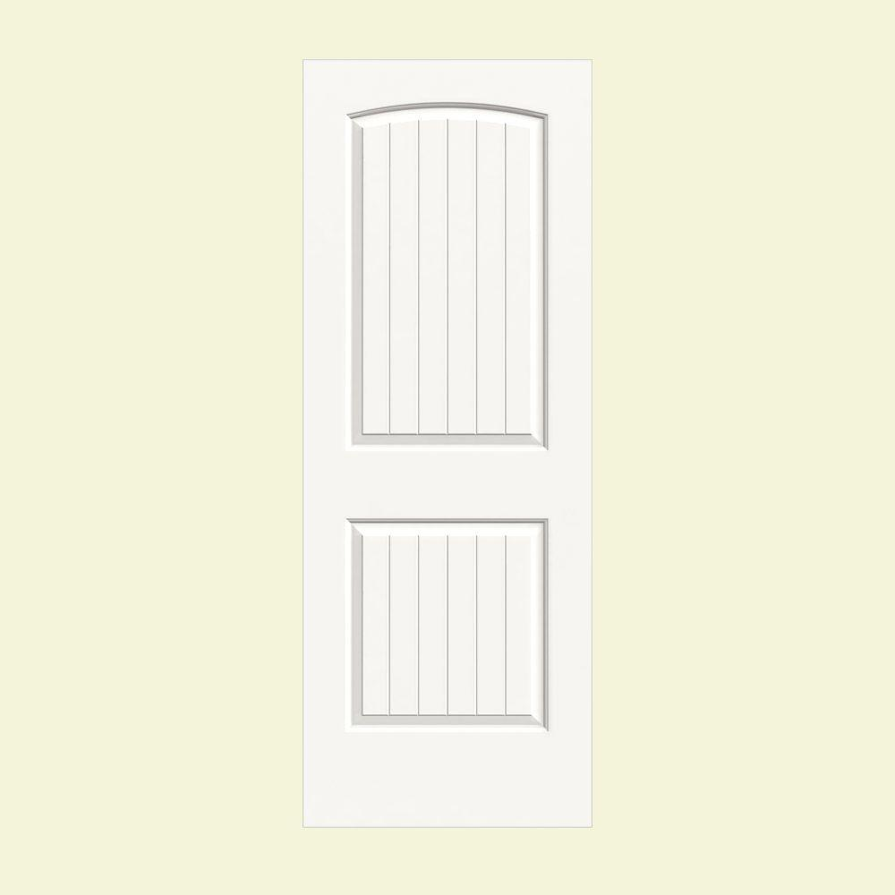 null 28 in. x 80 in. Santa Fe White Painted Smooth Solid Core Molded Composite MDF Interior Door Slab