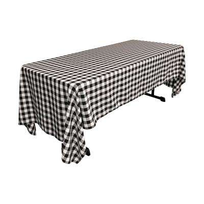 60 in. x 120 in. White and Black Polyester Gingham Checkered Rectangular Tablecloth