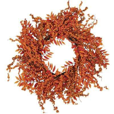 18 in. Weatherproof Fall Berry Fern Wreath