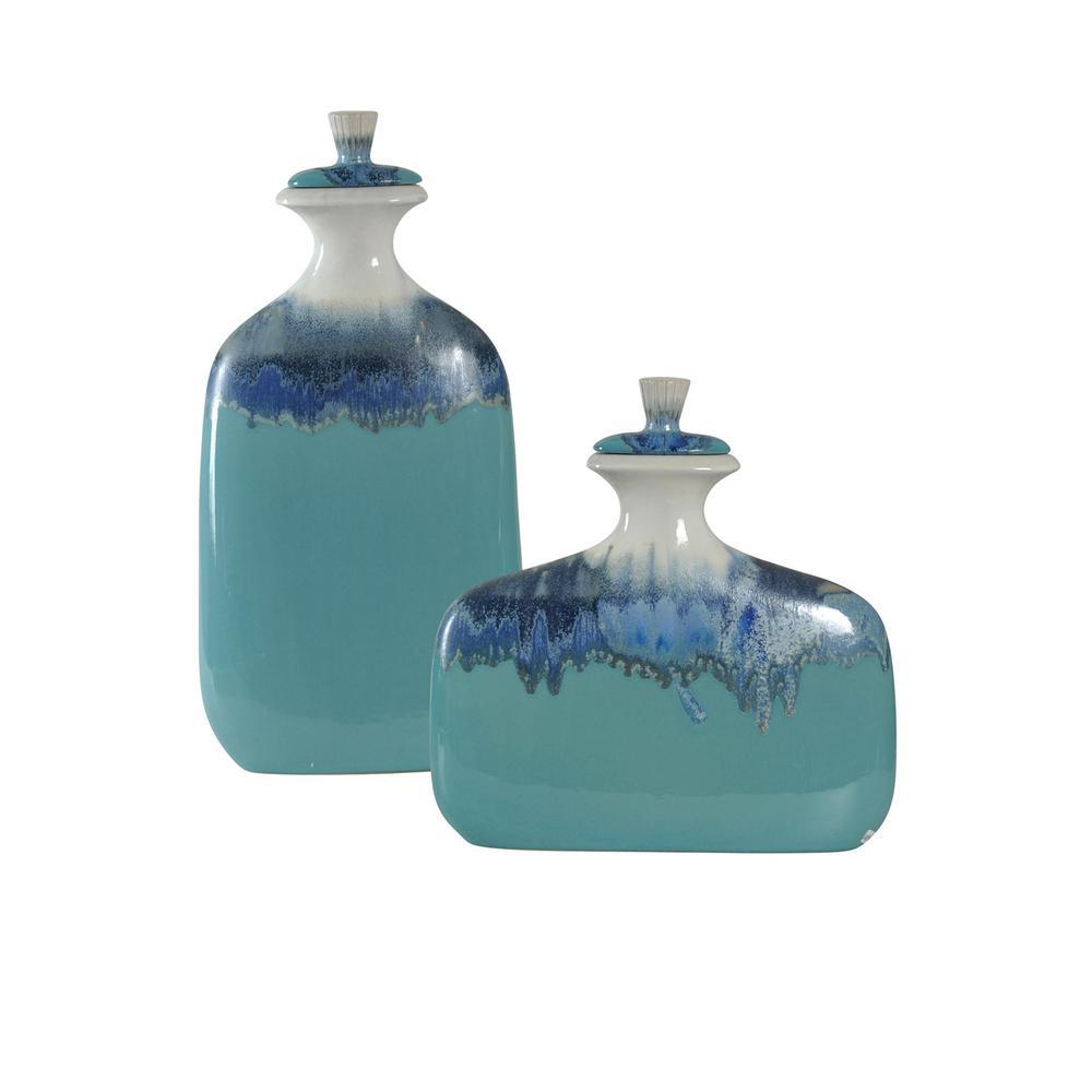 Blue Ombre Ceramic Jars with Lids (Set of 2)