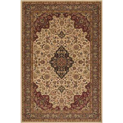 Persian Classic Medallion kashan Ivory Rectangle Indoor 9 ft. 3 in. x 12 ft. 10 in. Area Rug