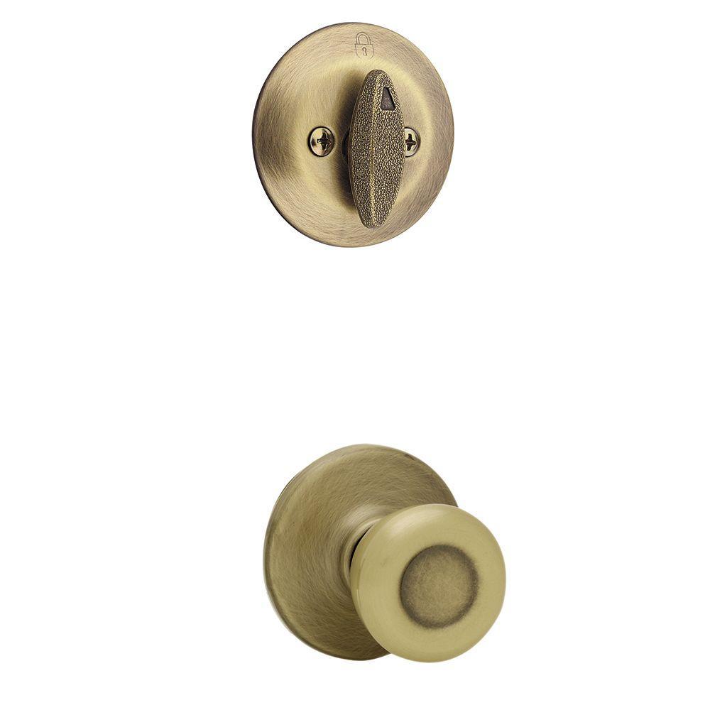 Kwikset Tylo Antique Brass Single Cylinder Interior Door