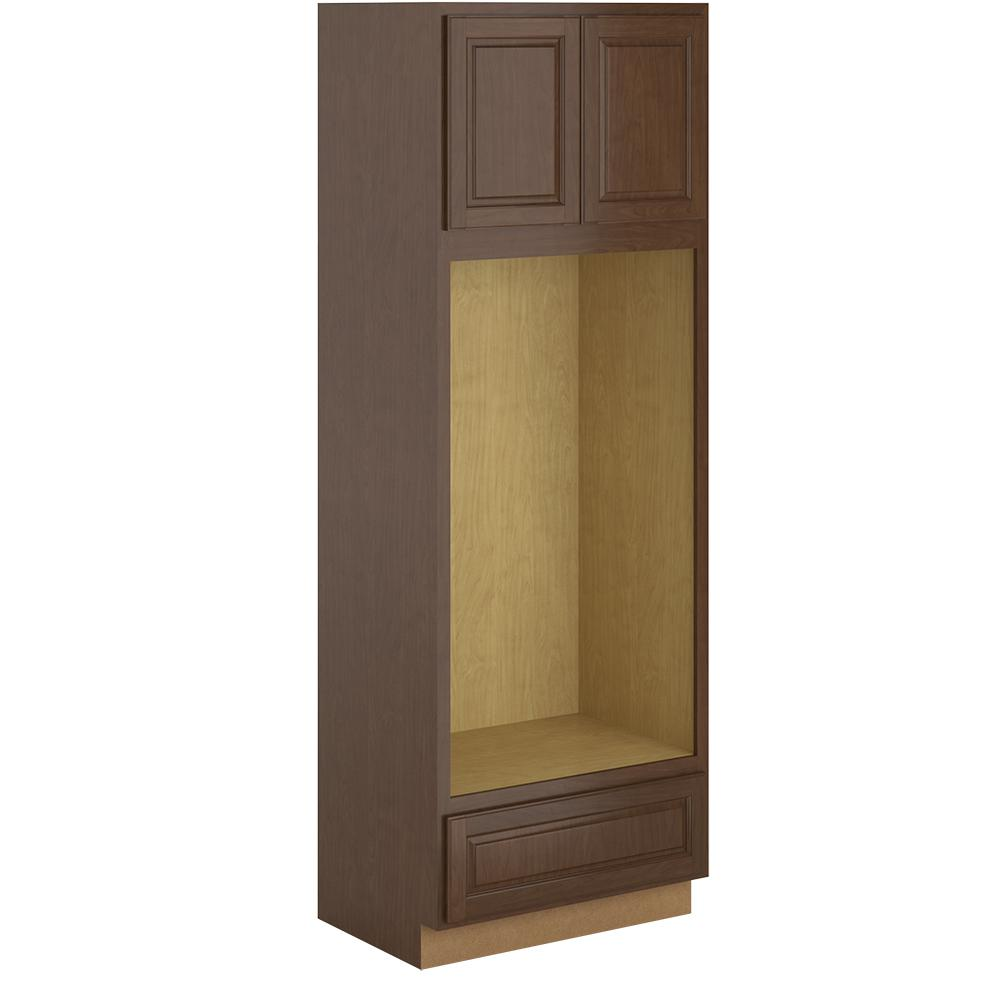 Hampton Bay Madison Assembled 33x96x24 In Pantry Utility Double Oven Cabinet In Cognac Pdo3396